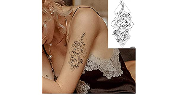 tzxdbh 6 Pirce Impermeable Negro Flor de Rosa Tatuajes Temporales ...