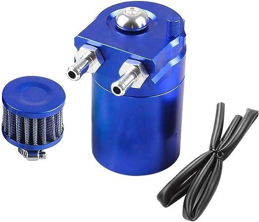 300ml Aluminium Oil Catch Can Auto Reservoir Tank Universal Air Oil Seperator Mit Luftfilter Schlauch Und Sonstiges Zubehör Blue Auto