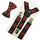 Kid Boys Adjustable Y Back Clip Suspenders and Pre-tied Bowtie Set (Red Black Plaid Set)