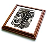 3dRose Picture of A Vintage Twin Lens Reflex Tlr Camera Trivet with Ceramic Tile, 8 by 8'', Brown