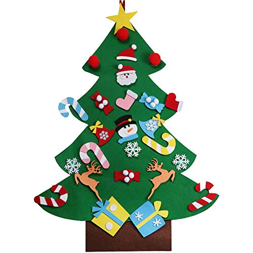 AoLigei Árbol de Navidad de Fieltro con Adornos, árbol de Navidad de Fieltro de 0,9 m para niños, Regalos de Navidad y...