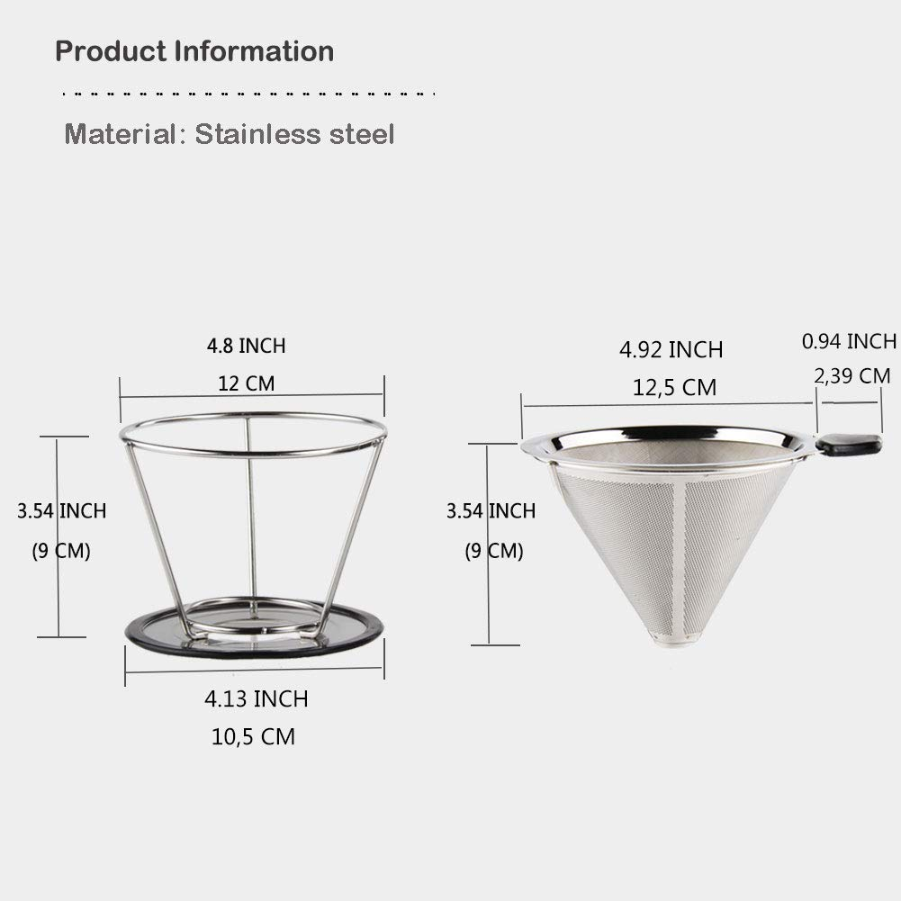 Gold Sivaphe Pour Over Coffee Filter Brewer Reusable Stainless Steel Metal Double-Layered Mesh Mug Cone Coffee Dripper for Travel Camping 2 Cup