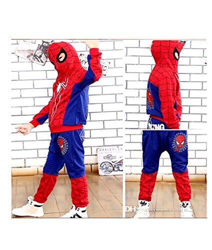 Halloween: Hoodie and Pants Superhero Set (7-8 Years, Blue Zipper Spiderman) -