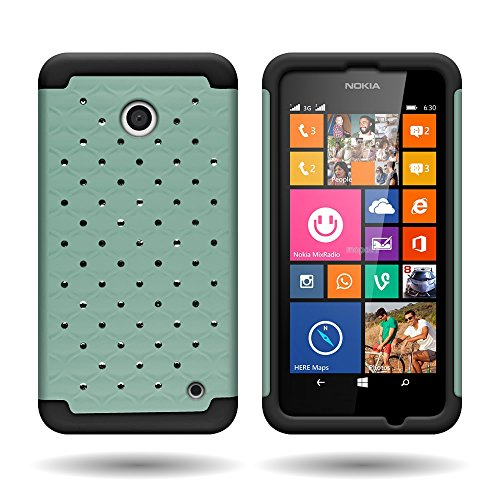 CoverON Hybrid Dual Layer Diamond Cover Case for Nokia Lumia 635 0 - Teal Hard Rubber + Black Soft - Cases 635 Phone Nokia Girls For