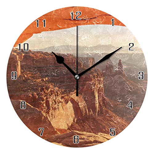 (MAISHING Mesa Arch Canyon Land World Round Wall Clock Home Decor Clock Battery Operated Silent Non -Ticking Desk Clock for Home,Office,School (10 Inch))