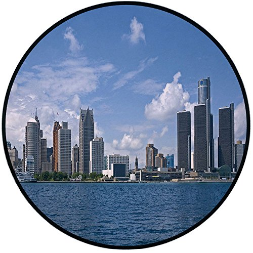 Printing Round Rug,Detroit Decor,Downtown Detroit GM Renaissance Center Ford Auditorium Shoreline Mat Non-Slip Soft Entrance Mat Door Floor Rug Area Rug For Chair Living Room,Light Blue White Grey