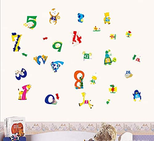Amazon Com Theme Decal Tm 14055cm Interest Cartoon Animals Digital Wall Stickers Kid S Room Wall Stickers Nursery School Removable Home Decals Pvc Art Decoration Mural Wall Decal Home Decor Restaurant Bedroom Sitting Room