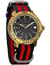 Vostok Komandirskie 24 Hour Dial Mechanical Mens Military Wrist Watch #819782 (black+red