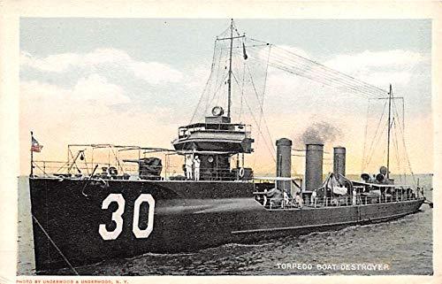 Military Battleship Postcard, Old Vintage Antique Military Ship Post Card Torpedo Boat Destroyer Unused