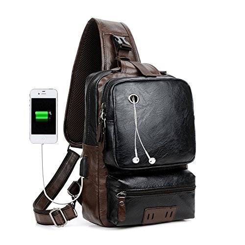 Men Vintage PU Leather CrossBody Sling Bag Large Capacity Backpack USB Charge (Largeblack)