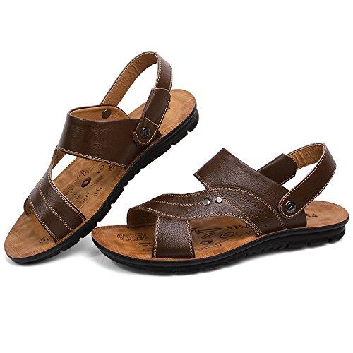 De Cuir Sandales Pantoufles Hommes Sandales Chaussures Café Confortables Été Tongs Plage Ouvert Respirant En Orteils vnHHzp5