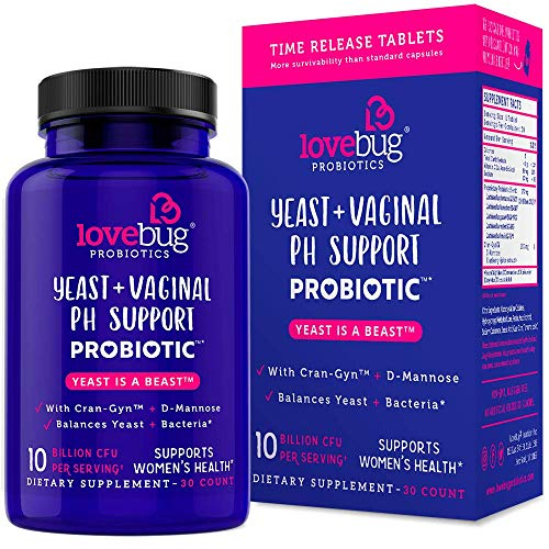 Yeast Infection Treatment for Women Probiotics - Vaginal Health 30 Delayed Release Probiotic Tablets with Cranberry and D-Mannose Supplement - Promotes Urinary Tract + PH Balanced Flora