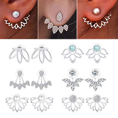 Adramata 6 Pairs Lotus Flower Earrings for Women Girls Simple Chic Fashion Stud Earrings,S