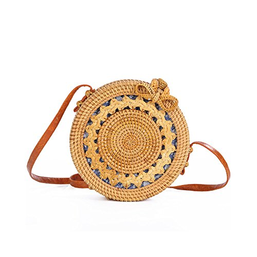 flower Natural handbags Sun Sun Linen INS Rattan Handwoven Round Women's lining bag bag 100 B Crossbody Designer bag flower Purely messenger Button Bag YgfFwHxYq