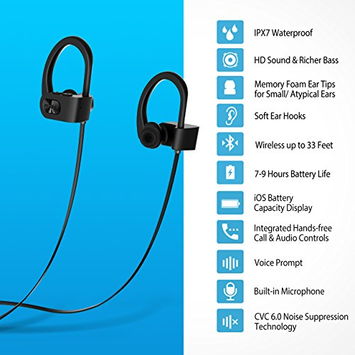 Large Product Image of Mpow Flame Bluetooth Headphones, IPX7 Waterproof Wireless Earbuds Sport Headphones, Richer Bass HiFi Stereo Noise Cancelling Headsets w/ Mic, Case, 7-9 Hrs Playback for Gym Running Workout