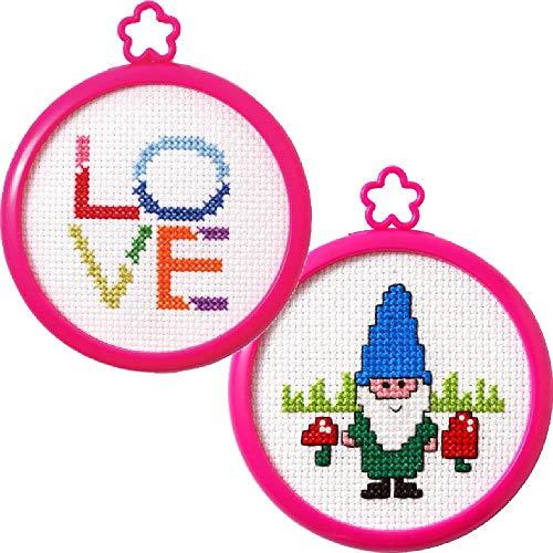 2 Item Bundle of My 1st Cross Stitch Kits: Gnome and Love