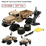 Remote Control Car RC Military Truck Army Car,Outsta New Sell 1:16 4WD Tracked Wheels Crawler Off-Road Car RTR Toys Truck Vehicle Electric Cars Gift for Boys (Yellow)