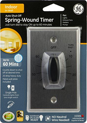 Ge 15305 In Wall Spring Wound 60 Minute Countdown Timer