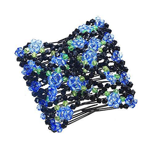 Dressin Turban Headbands for Women Hair Vintage Flower Printed Cross Elastic Head Wrap Headwear Hair Accessories Blue