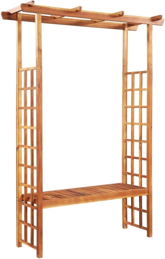 "vidaXL Solid Acacia Wood Garden Pergola with Bench 77.9"" x19.7x56.3 Benches"