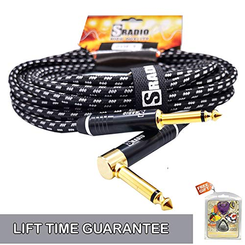 SRADIO Guitar Instrument Cable 10 Foot, AMP Cord Right Angle 1/4-Inch TS to Straight 1/4-Inch TS Guitar Cable 10FT with Gray Tweed Cloth for Electric Guitar,Bass,Keyboard ()