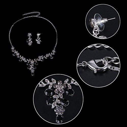 EVER FAITH Flower Leaf Necklace Earrings Set Austrian Crystal 5