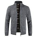 Allywit Men's Classic Long Sleeve Full Zip up Plus Knitted Fleece Cardigan Sweaters Big and Tall