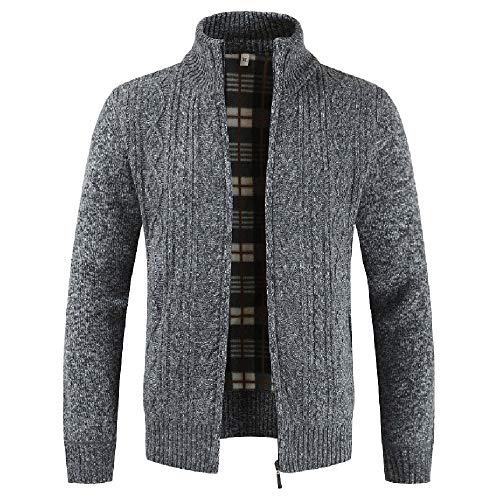 GOVOW 2018 Clothes Knit Cardigan Zipper Sweaters for Men Long Sleeve Coat(US:14/CN:XXXL,Dark Gray)