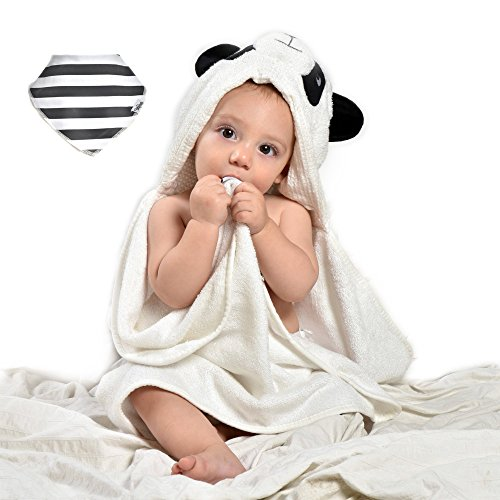 EXTRA absorbent Organic bamboo baby hooded bath towel - Super soft set (Organic Hooded Towel Set)