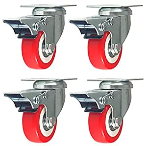 4 Pack Caster Wheels Swivel Plate Stem Break Casters On Red Polyurethane Wheels 880 Lbs (2 inch with brake)