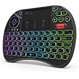 (Updated 2018,8-Color RGB Backlit) Rii X8 2.4GHz Mini Wireless Keyboard with Touchpad Mouse Combo, RGB Backlit, Rechargeable Li-ion Battery-Black