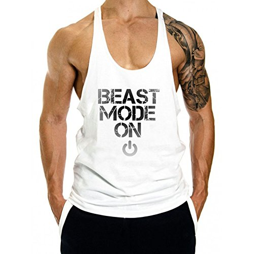 (InleaderAesthetics Men's Cotton Fitness Beast Model Stringer Tank Tops -White-M)
