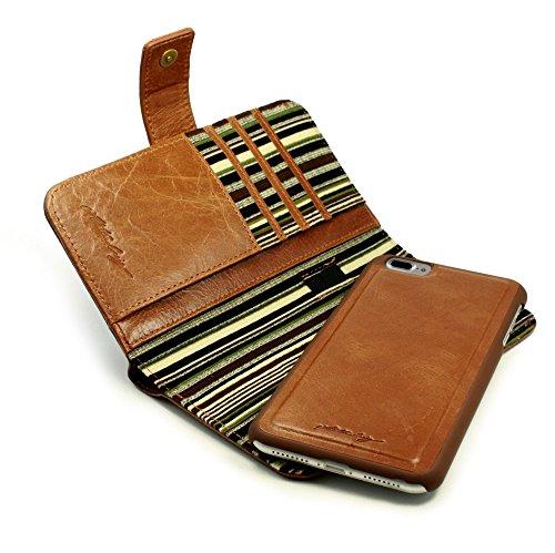 Alston Craig Tec E-scape Echtleder Geldbörse und hülle Portemonnaie, mit magnetischer Halterung und (RFID-Ausleseschutz für Ihre Karten) & 2500mah Schlank Powerbank Externer Akku - für iPhone 7 Plus -