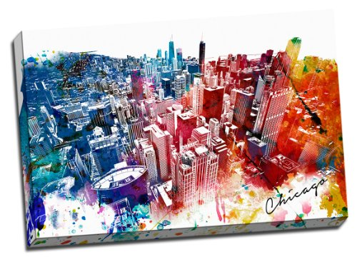 Colorful Downtown Chicago Urban Painting Canvas Wall Art Stretched Onto 24x36