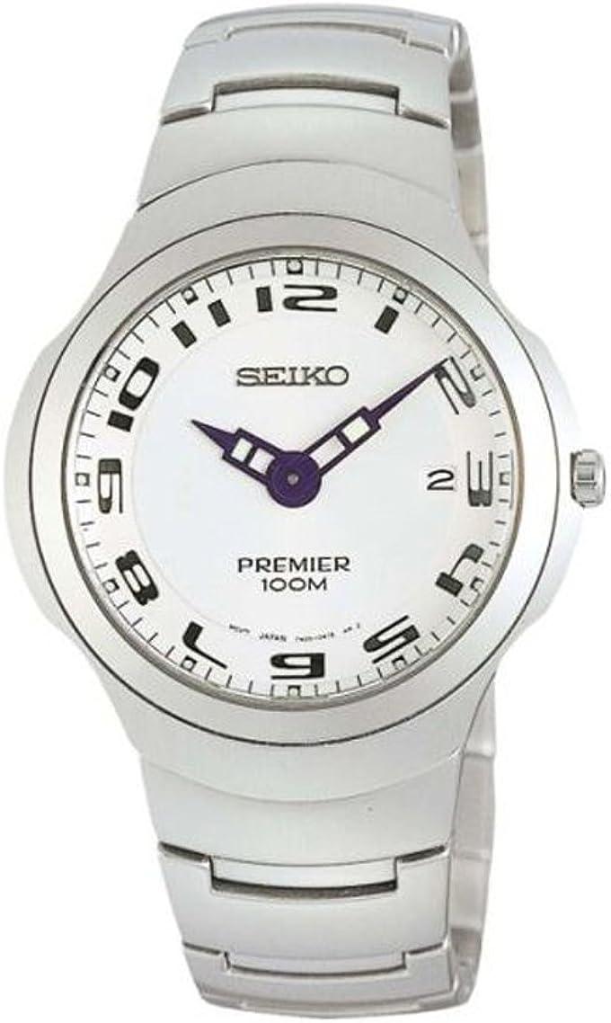SEIKO SKP051P1 - Reloj de caballero de cuarzo, correa de acero inoxidable color plata