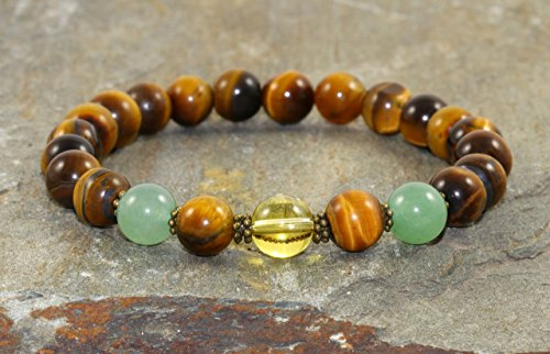 Citrine Tigers Eye Bracelet - Abundance & Prosperity Bracelet Stack, Citrine-Tiger Eye-Green Aventurine, Healing Osteoarthritis, Manifestation-Success-New Beginnings