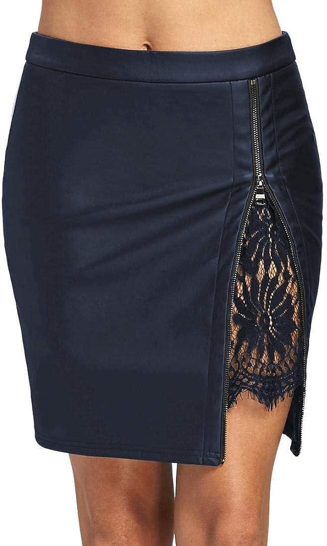 BOLAWOO-77 De Cuero De La PU De La Mujer Elegante Mode De Marca De Encaje Bodycon Mini Falda hasta La Rodilla Midi con Mini 50Er Elegante De La Vendimia Oficina Mini Falda De La Falda