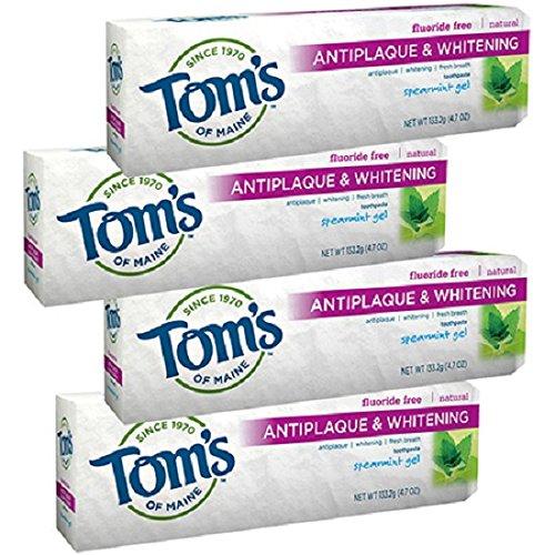 Antiplaque Plus Whitening Gel Toothpaste (Tom's of Maine Antiplaque Plus Whitening Gel, Spearmint 4.7 oz (Pack of 4))