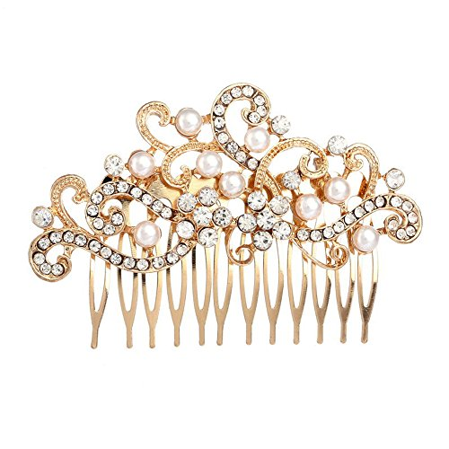 Missgrace Rhinestone Jewelry Comb Bridal Headpiece Hair Clip Women Hair Accessories(Gold)