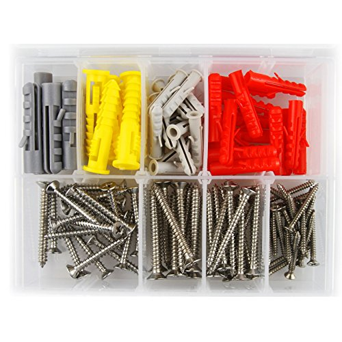 Self Drilling drywall anchors Stainless Steel screw assortment, heavy duty drywall anchors with screws, molly bolts, sheetrock anchors (110 pcs plastic wall anchors and (Rock Anchor Bolts)