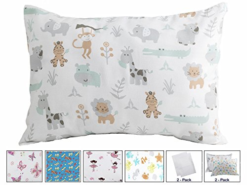 BB MY BEST BUDDY Toddler Pillowcase by My Best Buddy - 100% cotton - New Safari and Zoo Animals for your kids - 13 x 18 shrinks to fit -envelope style closure - designed in the USA