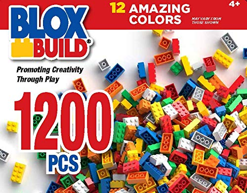 BUILD 'N BLOX Building Blocks 1200 Pieces Set, in 12 Popular Colors, Compatible with Major Brands