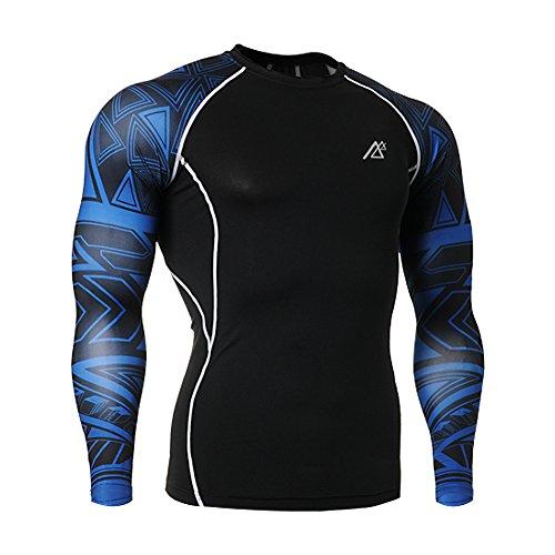 Mens Long Sleeve Compression Shirt (Men Long Sleeve Compression T-Shirts Base Layers Top Shirt pants 31L, Blue)