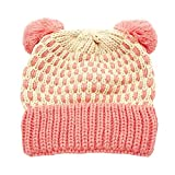 Inkach Baby Beanie Hats Pom Poms, Crochet Knitted Hat Hairball, Winter Warm Slouchy Skull Cap (Pink)