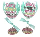 "Set of 2 – Hand Painted – Every blonde needs a brunette best friend""""Every brunette needs a blonde best friend"" wine glasses"