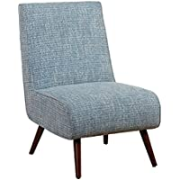Target Marketing Systems Malone Collection Mid Century Modern Upholstered Armless Living Room Lounge Chair, Blue