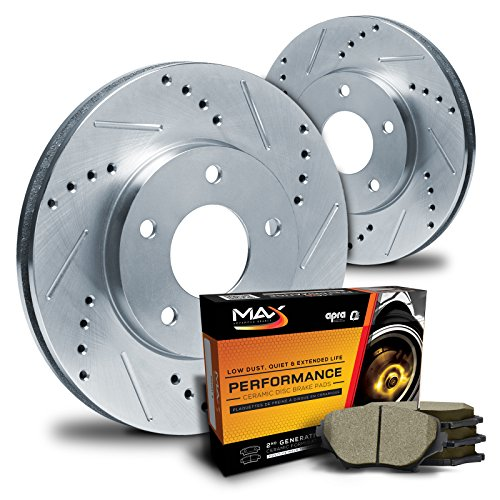 Max KT032011 Front Silver Slotted & Cross Drilled Rotors and Ceramic Pads Combo Brake Kit (Max Advanced Brakes 01 Mustang compare prices)