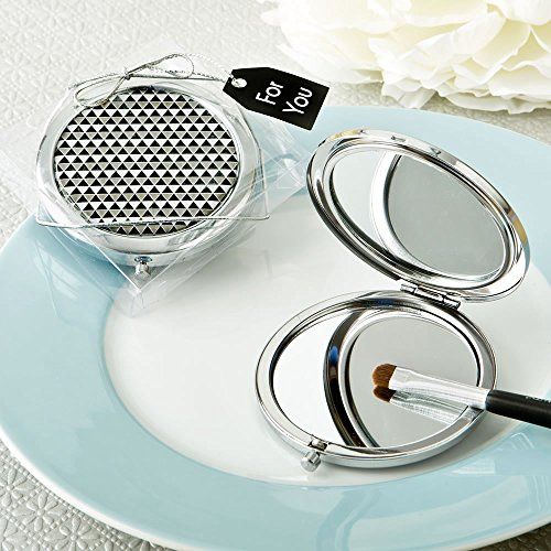 48 Modern Silver Graphic Design Compact Metal Mirrors by Fashioncraft