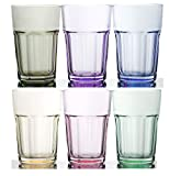 Rainbow Illusion Tinted Glass Tumbler 6-Piece Set, 11.75 Ounce – Pastel Edition Review