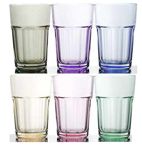 Rainbow Illusion Tinted Glass Tumbler 6-Piece Set, 11.75 Ounce - Pastel Edition (Tinted Glassware)